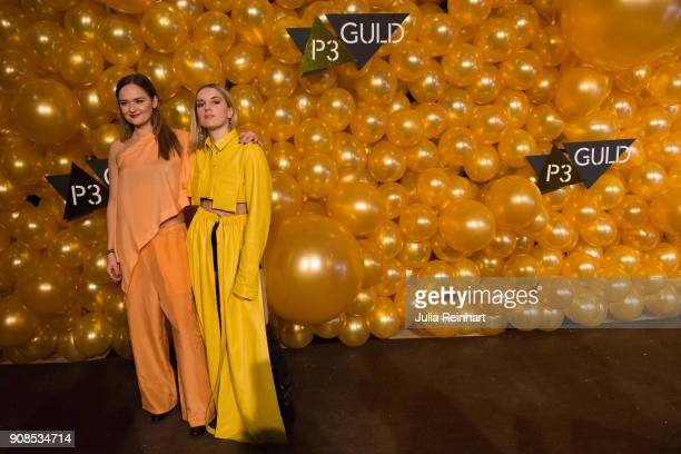 Hanna HannaPe Persson and Marlene arrive at the P3 Guld Gala Swedish Radio's celebration of the best in Swedish Music on January 20 2018 at Partille...