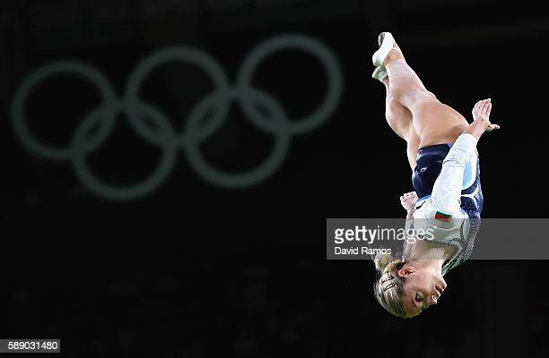 Hanna Harchonak of Belarus competes during the Trampoline Gymnastics Women's Qualification on Day 7 of the Rio 2016 Olympic Games at the Rio Olympic...