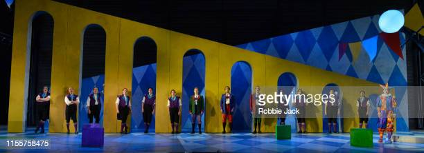 Hanna Hipp as Fantasio with artists of the company in Garsington Opera's production of Jacques Offenbach's Fantasio directed by Martin Duncan and...