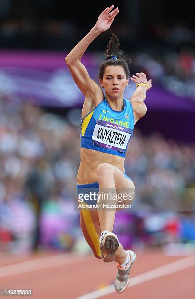 Hanna Knyazyeva of Ukraine competes in the Women's Triple Jump Final on Day 9 of the London 2012 Olympic Games at the Olympic Stadium on August 5...