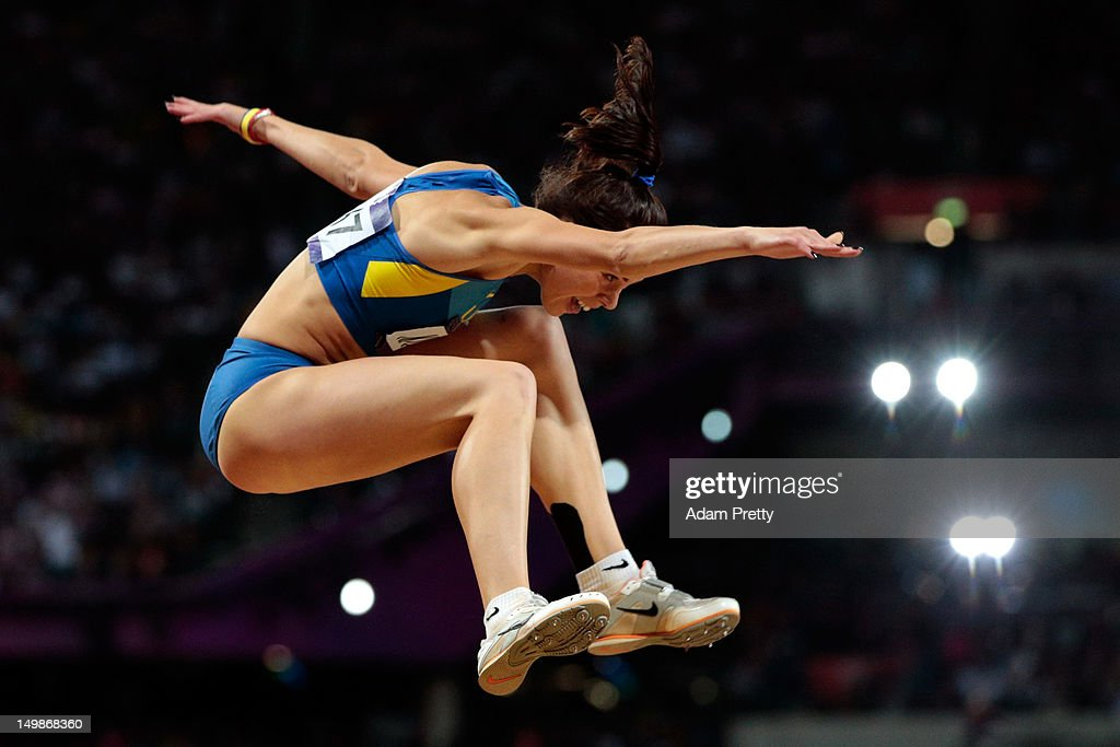 Hanna Knyazyeva of Ukraine competes in the Women's Triple Jump final on Day 9 of the London 2012 Olympic Games at the Olympic Stadium on August 5, 2012 in London, England.
