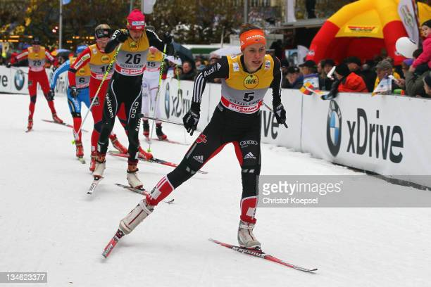 Hanna Kolb of Germany skates during the women's 09 quarterfinal sprint of the FIS Cross Country World Cup at the Dusseldorf city circuit on December...