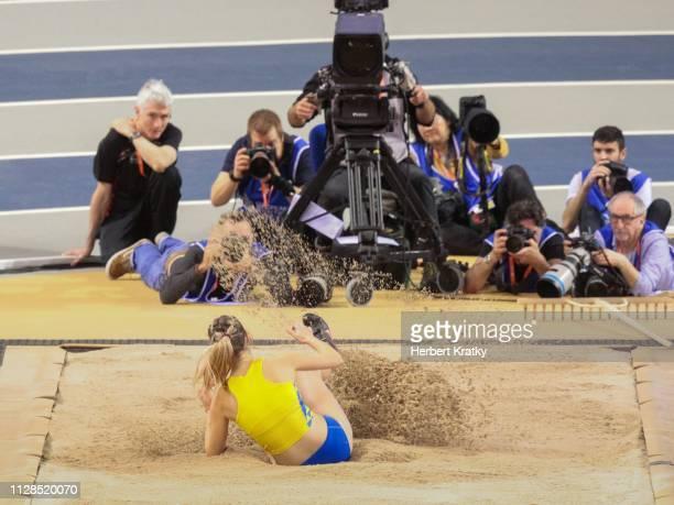 Hanna Krasutska of the Ukraine competes in the women's triple jump event on March 3 2019 in Glasgow United Kingdom