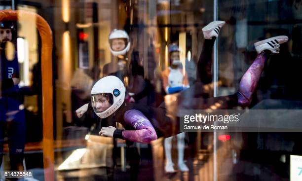 Hanna Lewis during indoor sky diving Exhibition in Madrid on July 14 2017 in Madrid Spain