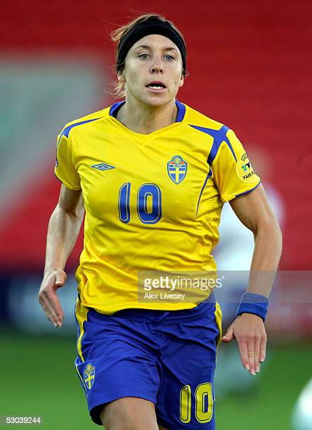 Hanna Ljungberg of Sweden in action during the Women's UEFA European Championship 2005 Group A game between Sweden and Finland at Bloomfield Road on...