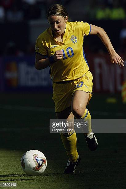 Hanna Ljungberg of Sweden moves the ball forward against Germany during the FIFA Women's World Cup Final on October 12 2003 at Home Depot Center in...