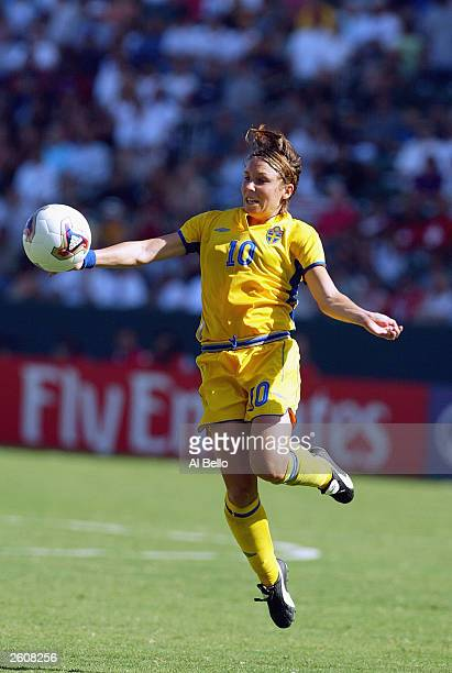 Hanna Ljungberg of Sweden traps the ball during the FIFA Women's World Cup Final game against Germany on October 12 2003 at Home Depot Center in...