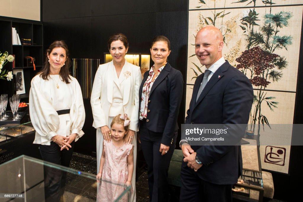 Hanna Lyndggaard, Crown Princess Mary of Denmark, Ella Lyndggaard, Crown Princess Victoria of Sweden and Soren Lyndggaard are seen at Ole Lyndggaard Copenhagen store on May 29, 2017 in Stockholm, Sweden.