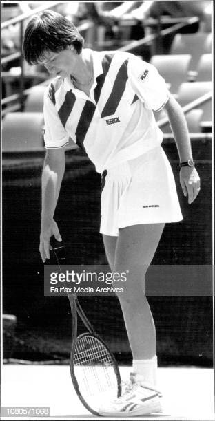 Hanna Mandlikova during her match against Britain's Jo Durie January 10 1989