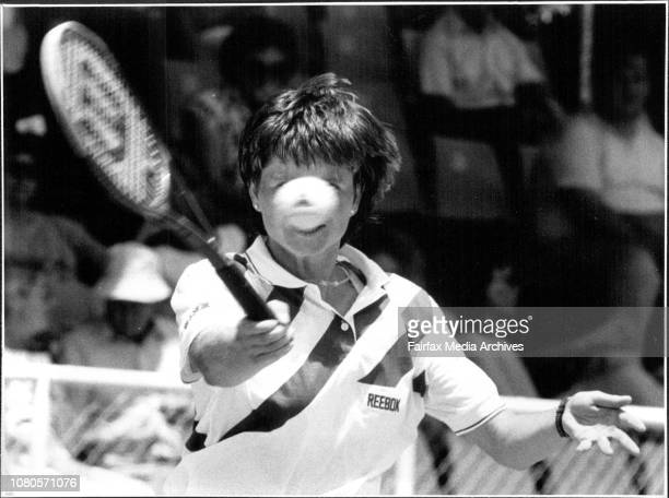 Hanna Mandlikova shows the stain during her match against Britain's Jo Durie January 10 1989
