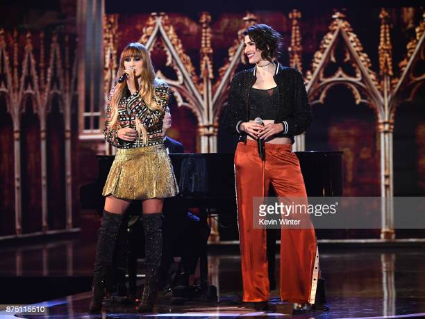 Hanna Nicole Perez Mosa and Ashley Grace Perez Mosa of HaAsh perform onstage at the 18th Annual Latin Grammy Awards at MGM Grand Garden Arena on...