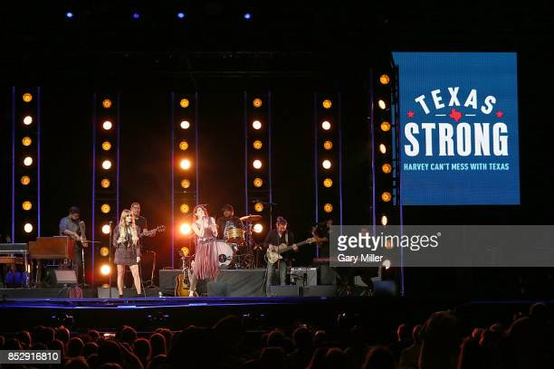 Hanna Nicole Perez Mosa and Ashley Grace Perez Mosa perform in concert with Ha*Ash during the Texas Strong Hurricane Harvey Can't Mess With Texas...