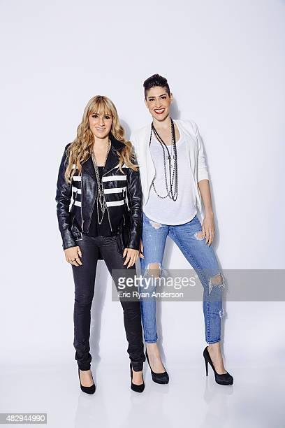 Hanna Nicole Pérez Mosa and Ashley Grace Pérez Mosa of the band Ha*Ash poses for a portraits at the 2015 Billboard Latin Music Conference for...