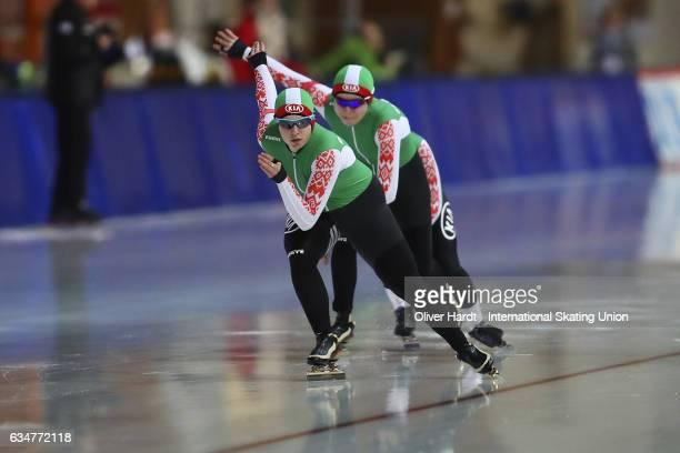 Hanna Nifantava Polina Polukarova and Anna Kovaleva of Bulgaria competes in the Team Pursuit Ladies Jun race during the ISU Junior World Cup Speed...