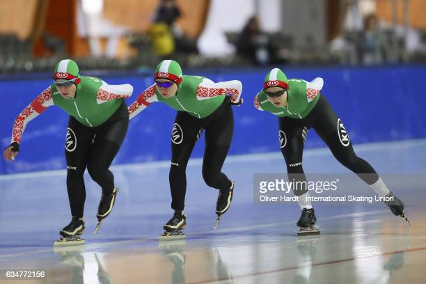 Hanna Nifantava, Polina Polukarova and Anna Kovaleva of Bulgaria competes in the Team Pursuit Ladies Jun race during the ISU Junior World Cup Speed...