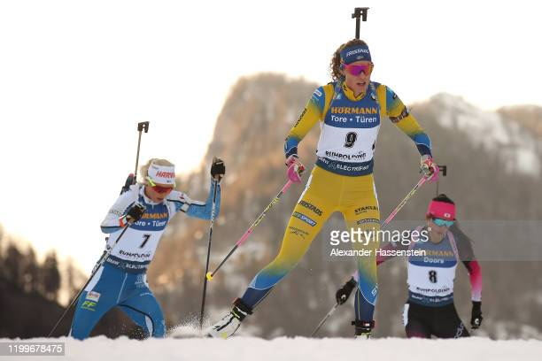 Hanna Oeberg of Sweden competes during the Women 7.5 km Sprint Competition at the BMW IBU World Cup Biathlon Ruhpolding on January 15, 2020 in...
