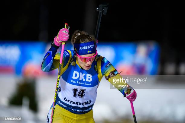 Hanna Oeberg of Sweden in action competes during the Women 15 km Individual Competition at the BMW IBU World Cup Biathlon Oestersund at on December...