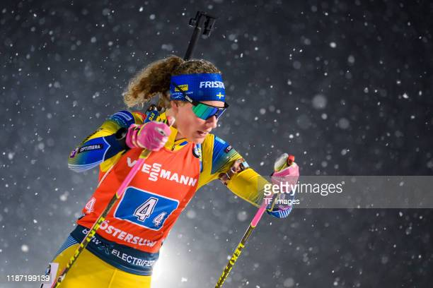 Hanna Oeberg of Sweden in action competes during the Women 4x6 km Relay Competition at the BMW IBU World Cup Biathlon Oestersund at on December 8,...