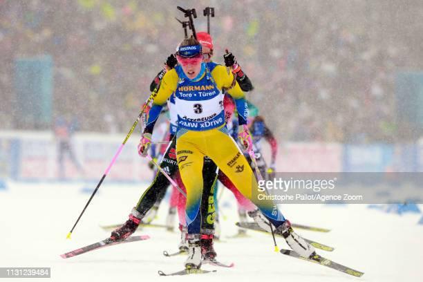 Hanna Oeberg of Sweden in action during the IBU Biathlon World Championships Men's and Women's Mass Start on March 17, 2019 in Oestersund, Sweden.
