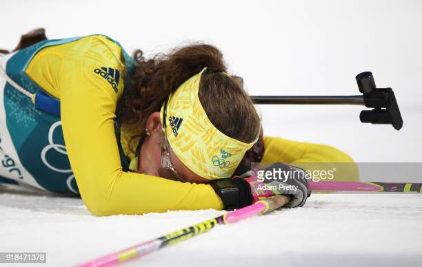 Hanna Oeberg of Sweden reacts as she finishes during the Women's 15km Individual Biathlon at Alpensia Biathlon Centre on February 15 2018 in...