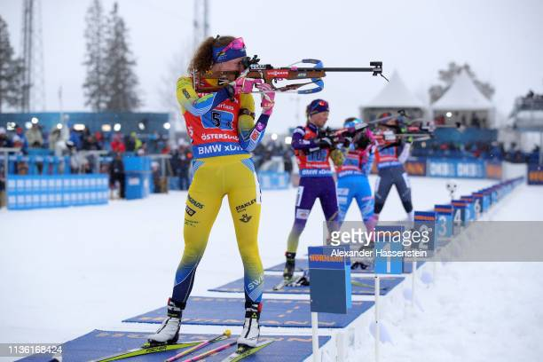 Hanna Oeberg of Sweden shoots during the Women's 4x6km Relay at the IBU Biathlon World Championships on March 16, 2019 in Ostersund, Sweden.