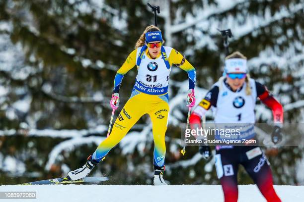 Hanna Oeberg of Sweden takes 3rd place during the IBU Biathlon World Cup Women's Sprint on January 17, 2019 in Ruhpolding, Germany.