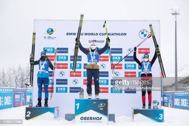 Hanna Oeberg of Sweden, Tiril Eckhoff of Norway, Lisa Theresa Hauser of Austria competes during the Women 7.5 km Sprint Competition at the BMW IBU...