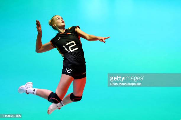 Hanna Orthmann of Germany serves during the Women CEV Tokyo Volleyball European Qualification 2020 match between Germany and Croatia held at...