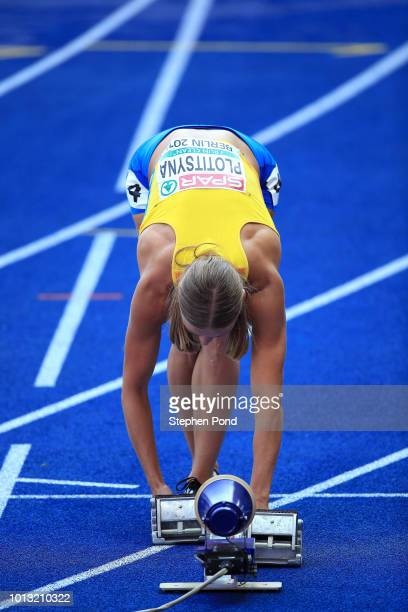 Hanna Plotitsyna of Ukraine prepares to start in the Women's 100m Hurdles heats during day two of the 24th European Athletics Championships at...