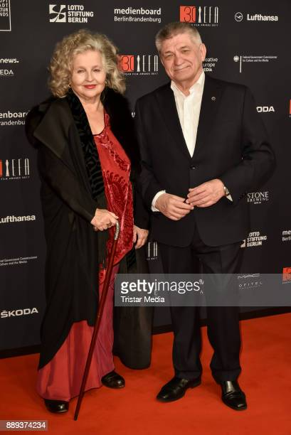 Hanna Schygulla and Alexander Nikolajewitsch Sokurow attend the European Film Awards 2017 on December 9 2017 in Berlin Germany