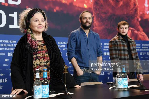 Hanna Schygulla Cedric Kahn and Anthony Bajon attend the 'The Prayer' ' press conference during the 68th Berlinale International Film Festival Berlin...