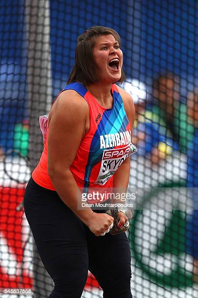 Hanna Skydan of Azerbaijan in action during the final of the womens hammer on day three of The 23rd European Athletics Championships at Olympic...