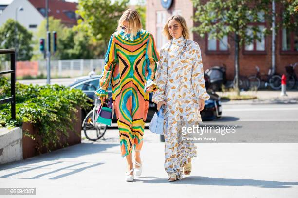Hanna Stefansson and Lisa Olsson seen outside Freya Dalsjø during Copenhagen Fashion Week Spring/Summer 2020 on August 07, 2019 in Copenhagen,...