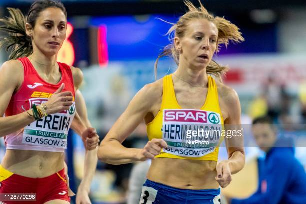 Hanna SWE and PEREIRA Solange Andreia ESP competing in the 1500m Women event during day ONE of the European Athletics Indoor Championships 2019 at...