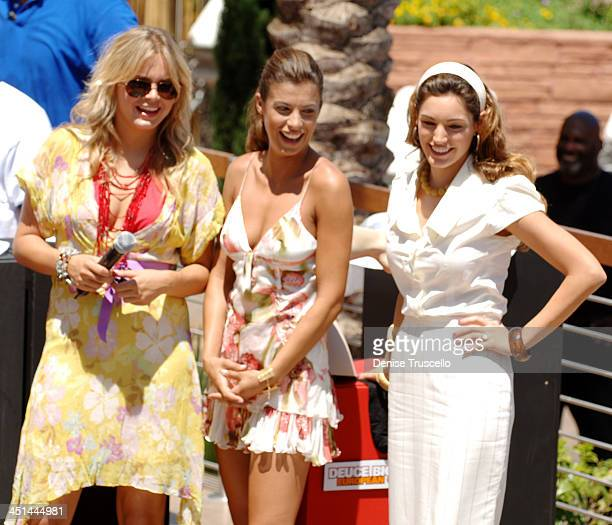 Hanna Verboom Elisabetta Canalis and Kelly Brook during Deuce Bigalow European Gigolo Male Gigolo Contest Hosted by MTV Hits Summer on the Strip at...
