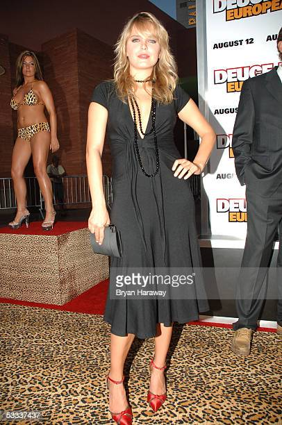 Hanna Verboom walks the red carpet before the premier of Deuce Bigalow European Gigolo at the Palms casino on August 6 2005 in Las Vegas Nevada