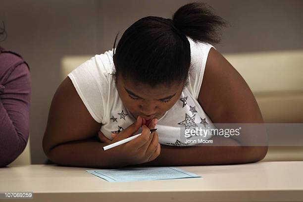 Hannah Adams sketches during the Shapedown program for overweight adolescents and children on November 13 2010 in Aurora Colorado The 10week...
