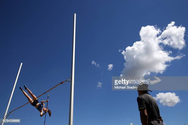 Hannah Adye from Auckland competes in the Under 18 Womens Pole Vault during the New Zealand Track Field Championships on March 9 2018 in Hamilton New...