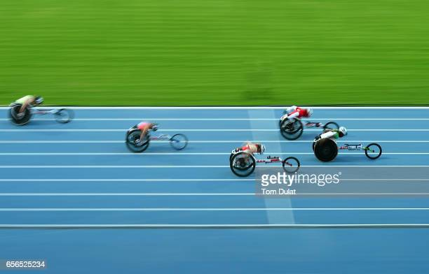 Hannah Babaloa of Nigeria competes in 100m Wheelchair Women's final race during the 9th Fazza International IPC Athletics Grand Prix Competition...