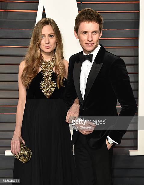 Hannah Bagshawe actor Eddie Redmayne arrive at the 2016 Vanity Fair Oscar Party Hosted By Graydon Carter at Wallis Annenberg Center for the...