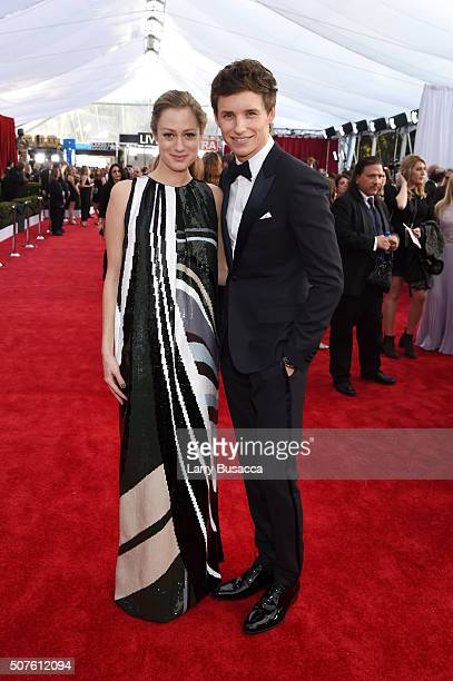 Hannah Bagshawe and actor Eddie Redmayne attend The 22nd Annual Screen Actors Guild Awards at The Shrine Auditorium on January 30 2016 in Los Angeles...