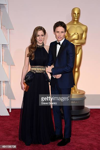 Hannah Bagshawe and actor Eddie Redmayne in Chopard attend the 87th Annual Academy Awards at Hollywood Highland Center on February 22 2015 in...