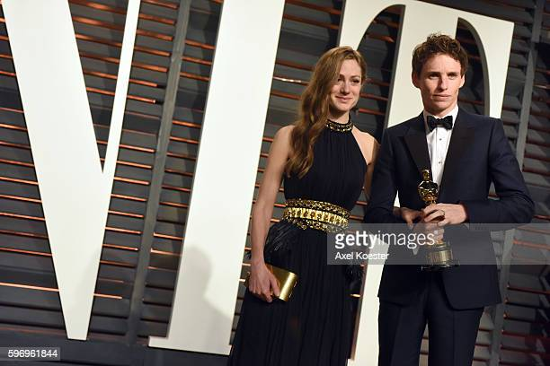 Hannah Bagshawe and Best Actor winner Eddie Redmayne attend the 2015 Vanity Fair Oscar Party hosted by Graydon Carter at the Wallis Annenberg Center...
