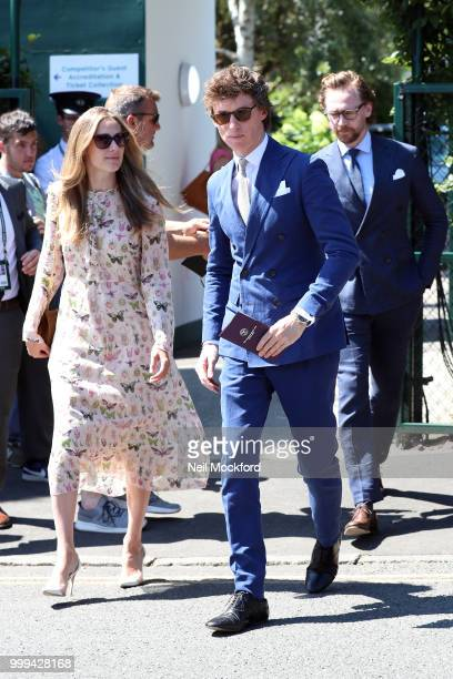 Hannah Bagshawe and Eddie Redmayne arrive at Wimbledon Tennis for Men's Final Day on July 15 2018 in London England