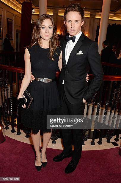 Hannah Bagshawe and Eddie Redmayne attend a champagne reception at the 60th London Evening Standard Theatre Awards at the London Palladium on...