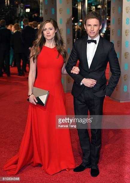 Hannah Bagshawe and Eddie Redmayne attend the EE British Academy Film Awards at The Royal Opera House on February 14 2016 in London England