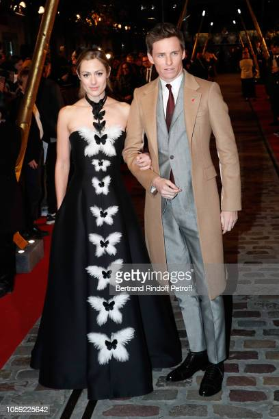 Hannah Bagshawe and Eddie Redmayne attend the Fantastic Beasts The Crimes of Grindelwald World Premiere at UGC Cine Cite Bercy on November 8 2018 in...
