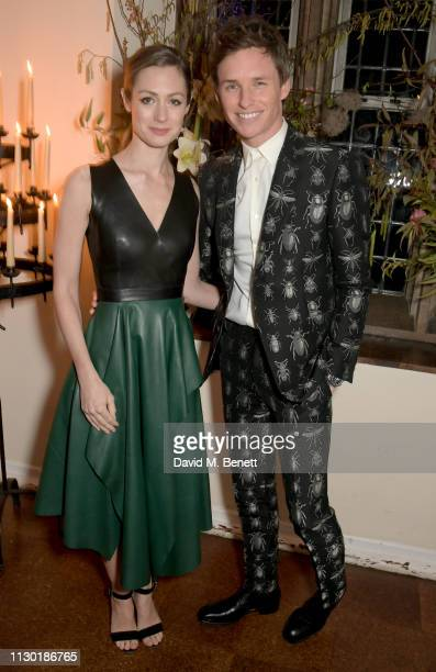 Hannah Bagshawe and Eddie Redmayne attend the FrancoisHenri Pinault and Sarah Burton dinner In celebration of the Alexander McQueen Old Bond Street...