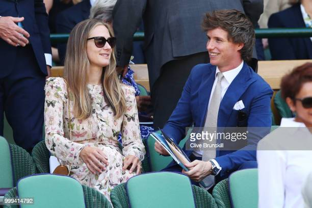 Hannah Bagshawe and Eddie Redmayne attend the Men's Singles final on day thirteen of the Wimbledon Lawn Tennis Championships at All England Lawn...