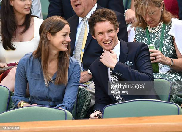 Hannah Bagshawe and Eddie Redmayne attend the quarter final match beteween Lucie Safarova v Petra Kvitova on centre court during day ten of the...